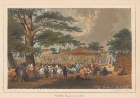 """Perry: Napha. 1856. A hand coloured original antique lithograph. 10"""" x 7"""". [SEASp1235]"""
