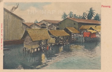 View of a fishing village on Penang Island.