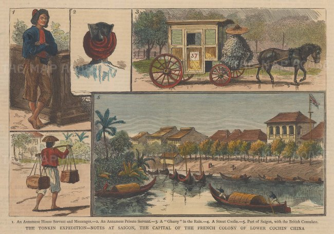 Five views in Saigon, the capital of lower Cochin China.