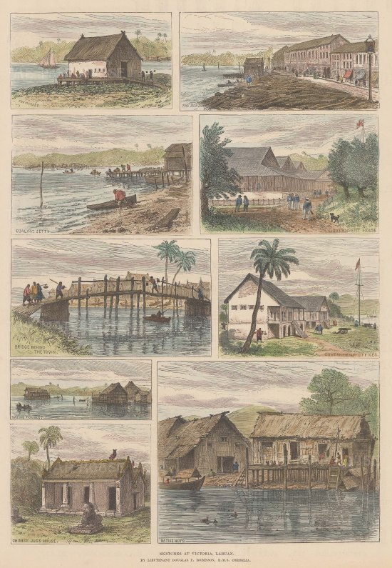 Eight sketches of Victoria, then capital of the Malaysian Federal Territory of Labuan, an island off the north coast of Borneo.