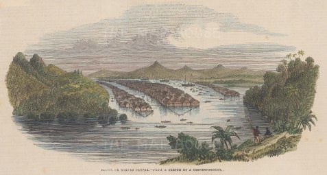 "Illustrated London News: Brunei, Borneo. 1842. A hand coloured original antique wood engraving. 9"" x 5"". [SEASp1290]"