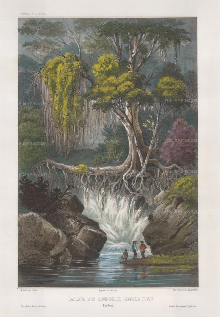 George Town. Penang Botanic Garden. View of the waterfall. After Théodore-Auguste Fisquet, one of the artists on the voyage of La Bonite 1836-7.