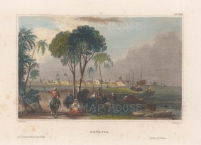 "Meyer: Jakarta, Java. 1840. A hand coloured original antique steel engraving. 6"" x 4"". [SEASp1365]"