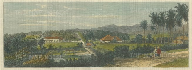 Sumatra: Straits of Sunda, Telok Betong. View of houses in forest area, two men in foreground.