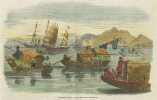 """Illustrated London News: Harbour of Hong Kong. 1857. A hand coloured original antique wood engraving. 9"""" x 7"""". [SEASp1418]"""