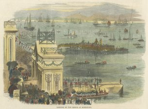 Landing of the Prince at the harbour with crowds gathering on the embankment.