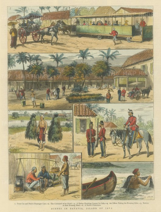 "Graphic Magazine: Jakarta, Java. 1882. A hand coloured original antique wood engraving. 10"" x 14"". [SEASp1425]"