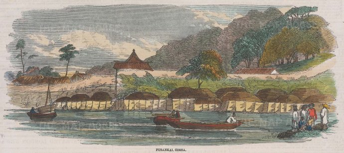 "Illustrated London News: Fusankai, Korea. 1858. A hand coloured original antique wood engraving. 10"" x 4"". [SEASp1430]"