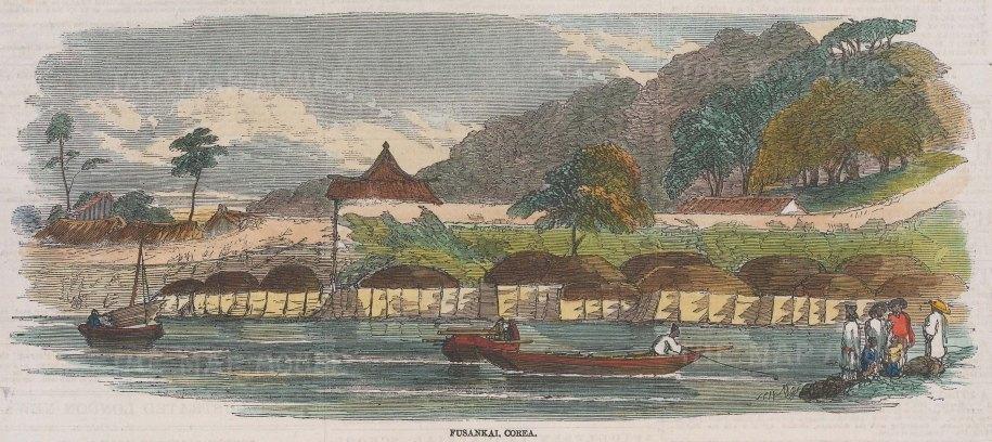 View of river at Fusankai with three boats sailing,