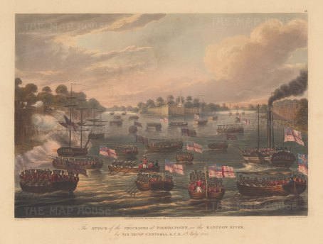 Rangoon (Yangon): Pagoda Point. First Anglo Burmese War. General Campbell and the Bombay Marines attacking the stockades in July.