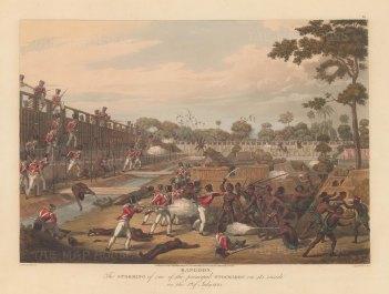 Rangoon (Yangon): First Anglo Burmese War. The British Army battling to gain the principle stockade.