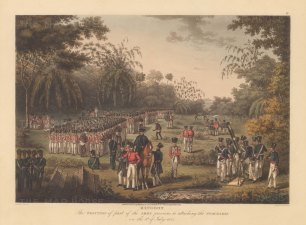 The British Army in formation with the earliest depiction of a Congreve Rocket, developed By Sir William Congreve in 1804. First Anglo Burmese War.