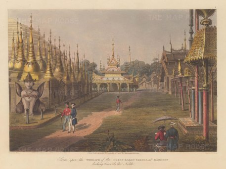 Rangoon (Yangon): Shewdagon Paya. Looking North from the terrace, with the artist sketching in the foreground.