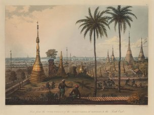 Shwedagon Paya, Rangoon (Yangon): View from the upper terrace towards the South East with British soldiers felling trees in the foreground.