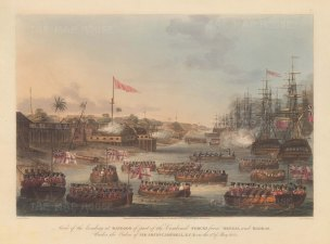 Rangoon (Yangon): First Anglo-Burmese War. Landing of the combined forces of British Infantry, Bombay Marine and the East India Company's private armies from Bengal and Madras.