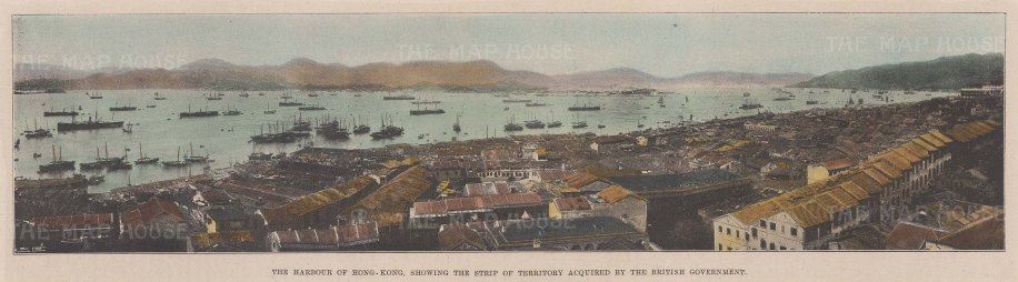 """Illustrated London News: Harbour of Hong Kong. 1898. A hand coloured original antique photo-lithograph. 13"""" x 4"""". [SEASp1477]"""