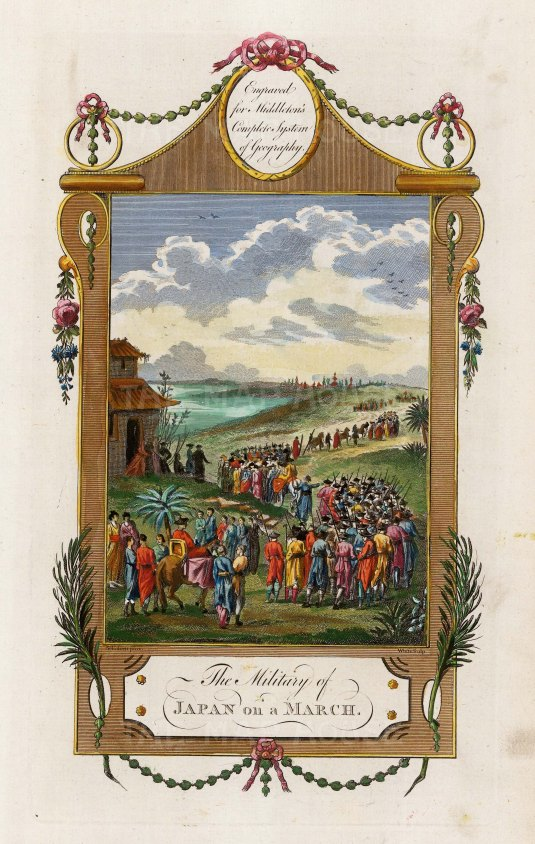 """Middleton: Military of Japan on the March. 1778. A hand coloured original antique copper engraving. 7"""" x 12"""". [SEASp1507]"""