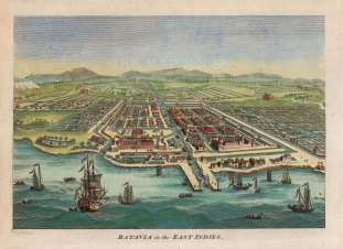 Bird's Eye view of the port and city on the island of Java. Batavia was the centre of the Dutch East Indies trading empire.