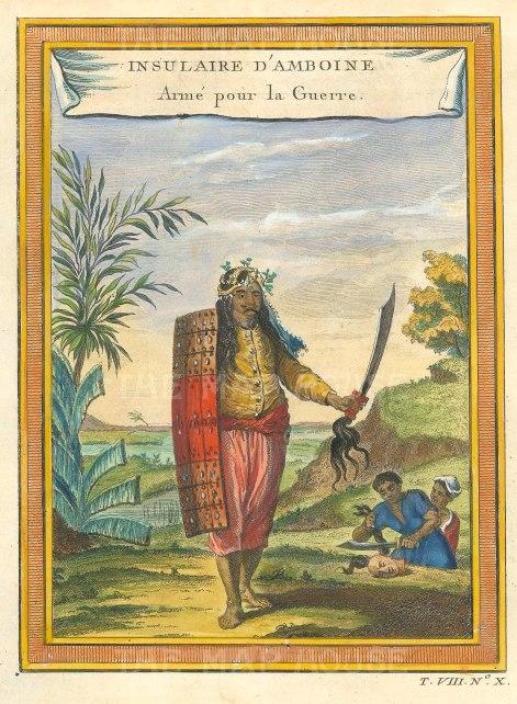 Moluccas: Ambon Island. Portait of an islander prepared for war.