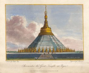 View of the temple Shwemawdaw (Golden Shrine) said to contain two hairs of Guatma Buddha.