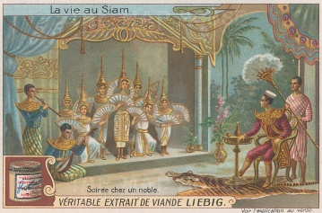 Evening entertainment in a noble's home in Thailand.