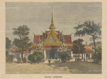 "Anonymous: Grand Palace, Bangkok. c1890. A hand coloured original antique wood engraving. 7"" x 5"". [SEASp1647]"