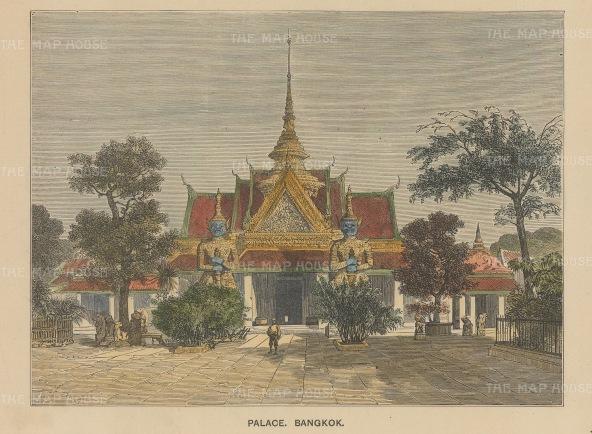 "Anonymous: Grand Palace, Bangkok. c1890. A hand coloured original antique wood engraving. 7"" x 5"". [SEASp1647]"