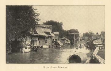 """Clifford: Chao Phraya River, Bangkok. 1905. An original antique photo-lithograph. 6"""" x 4"""". [SEASp1660]"""