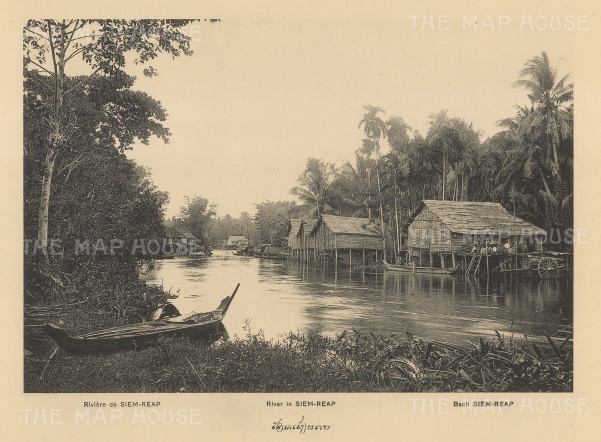 Siem Reap River: View of houses on the banks in 1888. Published in Hanoi. Dieulefils, working for the Ecole Francaise d'Extreme Orient, first exhibited his photographs at the l'Exposition universelle de Paris 1889.