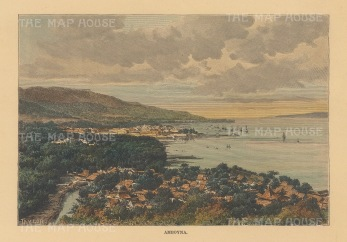 Moluccas (Maluku Islands): Amboyna. Panoramic view over the harbour and bay.