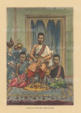 Queen Ang Mei wih two of her twenty children. After a photograph taken twenty years earlier.