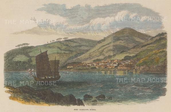 "Illustrated London News: Port Hamilton, Korea. 1865. A hand coloured original antique wood engraving. 9"" x 6"". [SEASp1688]"