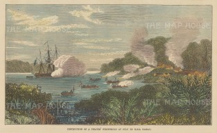 Destruction of the pirates' stronghold Carang by HMS Nassau.