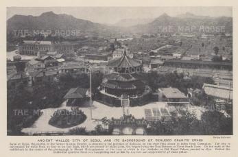 Bird's eye view over the city towards Mount Hokugakuzan.