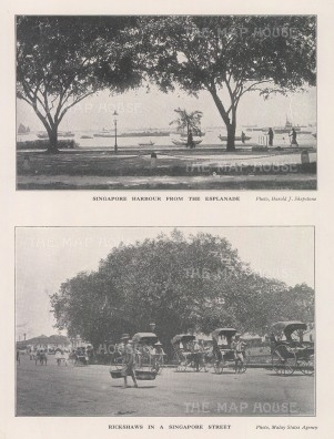 Double view: Panorama of the Harbour from the Esplanade with a view of Singapore Street.