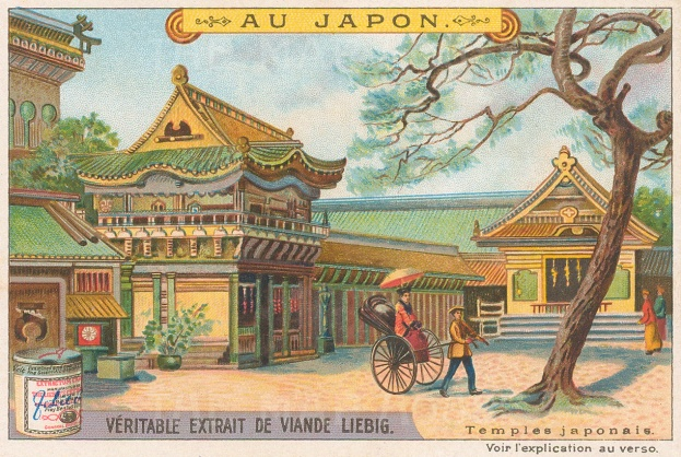 "Liebig's Extract: Japanese temples. c1900. An original antique chromolithograph. 5"" x 3"". [SEASp815]"