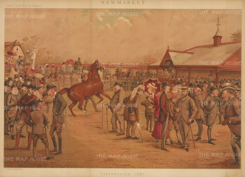Tattersall's caricature of an auction with the Prince of Wales, Prince Saltykoff, the Duke of Beaufort, the Duke of Hamilton, the Duke of Westminster, Lord Falmouth, Lord Zetland, Lord Cadogan, Lord Rosslyn, Lord Hastings, Lord Calthorpe, Lord Ailesbury, Hon HW. Fitzwilliam, Sir George Chetwynd, James Lowther, Col Forrester, Capt Machell, Mr Benzon, Mr Tattersall and others. By the racing caricaturist LIB (Liberio Prosperi).
