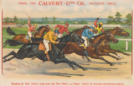Racehorses flat out to the finish: From one of the leading American lithographic and engraving establishments.