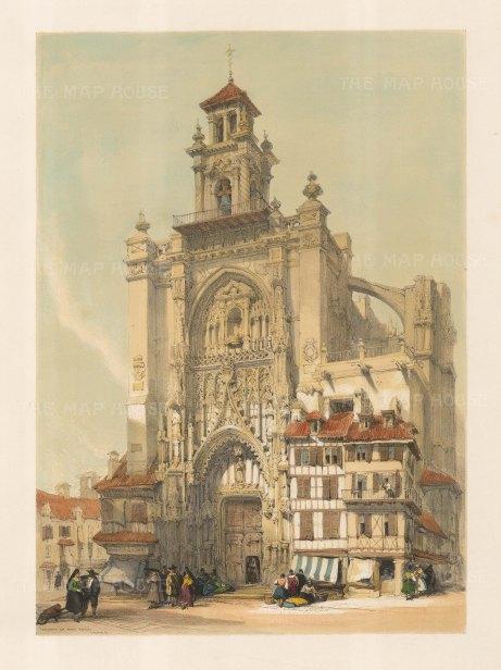 "Roberts: Church of San Jago, Jerez. 1838. A hand coloured original antique lithograph. 13"" x 17"". [SPp909]"