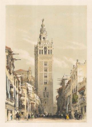 "Roberts: The Giralda Tower, Seville. 1837. An original colour antique lithograph. 13"" x 18"". [SPp914]"