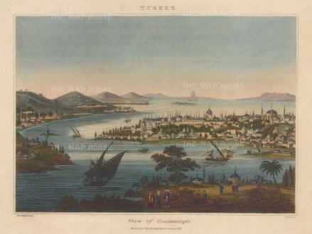 Constantinople: Panoramic view from Tophane: Engraved by John Pass.
