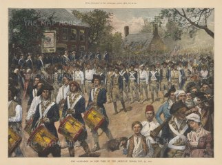 American Revolution: American troops entering the city on Nov 25th 1783.