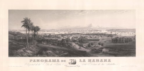 Panoramic view from Regla over Havana port towards the bay. After a daguerreotype by G.B. Haase.