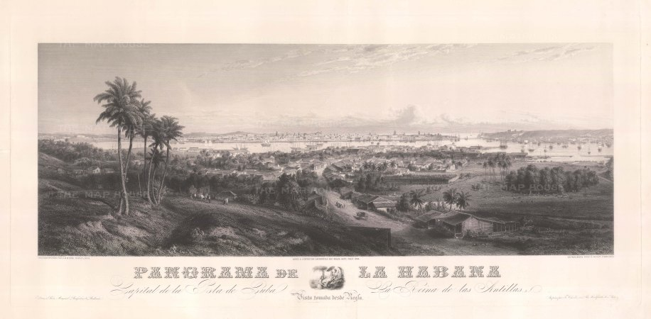 Havana: Panoramic view from Regla over Havana port towads the bay. After a dagdaguerreotype by G.B. Haase,