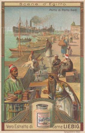 """Liebig's Extract: Port Said, Suez. c1900. An original antique chromolithograph. 3"""" x 4"""". [EGYp1030]"""
