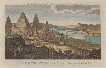 View of the Pyramids, Sphinx and the Nile.