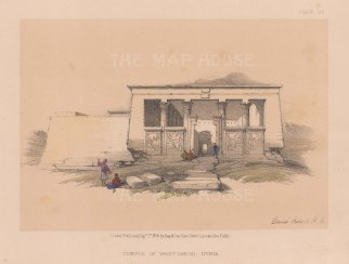 """Roberts: Wady Dabod Temple, Nubia. c1875. A hand coloured original antique lithograph. 8"""" x 5"""". [EGYp1077]"""