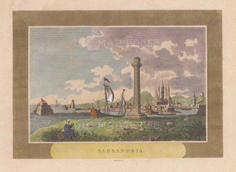 """Sparrow: Alexandria. c1820. A hand coloured original antique copper engraving. 8"""" x 6"""". [EGYp1099]"""