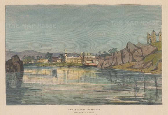"""Illustrated London News: Assouan. 1896. A hand coloured original antique wood engraving. 10"""" x 6"""". [EGYp1109]"""