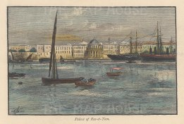 "Picturesque Mediterranean: Ras el-Tin Palace, Alexandria. c1880. A hand coloured original antique wood engraving. 6"" x 4"". [EGYp1113]"